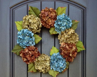 Hydrangea Wreath Fall Wreath Summer Wreath Grapevine Door Wreath Turquoise Brown Green Hydrangea Floral Door Decoration Indoor Outdoor