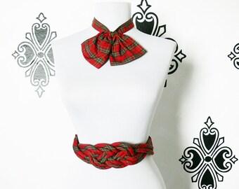 Vintage 80s Red Tartan Plaid Bowtie Ascot Wide Braided Belt Set Silk S M
