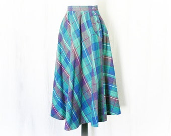 Vintage 70s Plaid Wool Skirt S Blue Retro 40s Full Swing Pockets