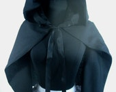 Adult Black Hooded Cape Witch Cape Black Wizard Cloak