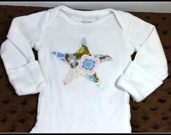 Onesie - Starfish Appliqued - You pick size and color