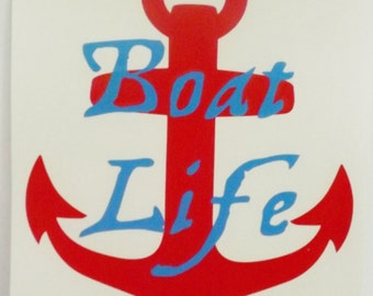 Boat Life Vinyl Decal For Car, Truck, SUV, Boat in Red and Blue
