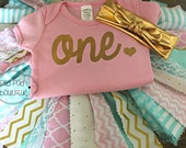 First Birthday Outfit - One Onesie only - Cake Smash - Ready to Ship