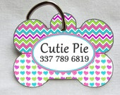 Chevron/Heart Custom Pet ID Tag - Personalized - Pet Safety