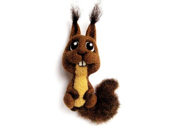 Gift for her Squirrel brooch Brown squirrel accessory Kids cloth decor Forest animal brooch Wild animal