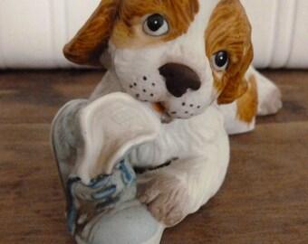 Vintage Spaniel Porcelain Dog with Shoe Figurine by Homco