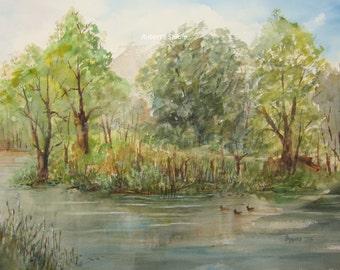 Watercolor landscape, landscape painting, archival print, watercolor art, summer watercolor, lake painting, nature painting, scenic painting
