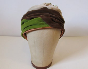 Green, Brown, & Tan Velveteen Multicolored Turban / 50's / womens accessories hat glamour pinup