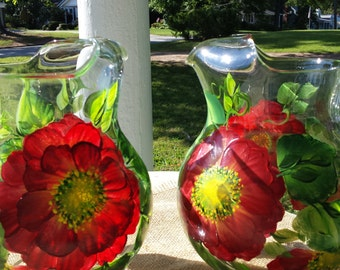 Hand painted glass pitcher in red wild rose design