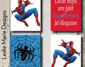 SPIDERMAN Wall Art - Canvas or Lustre Photo Paper Prints - Superhero - Boys Room