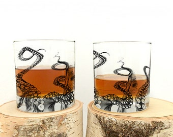 Octopus Tentacles - Screen Printed Whiskey Glass - Set of Two 11oz. Tumbler Glasses