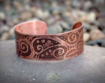 Steampunk Swirl Etched Copper Cuff