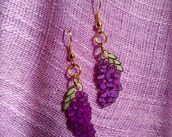 Lilac Wisteria purple flower earrings