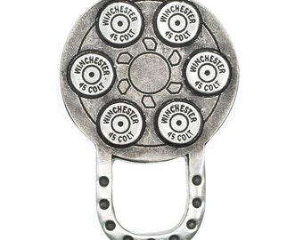 Motorcycle Style Sunglass Holder Pin - Six Shooter .45