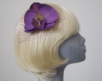 Purple Flower Hair Comb, Purple-Green Orchid Hair Comb, Purple Hair Flower, Purple Hair Orchid, Purple Hair Accessory