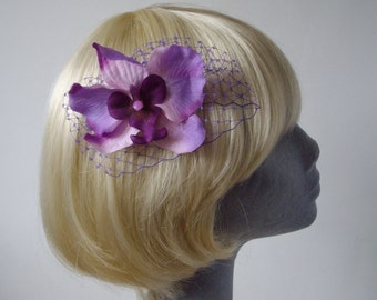 Purple Flower Hair Comb - Purple Shaded Orchid Hair Comb (Purple)