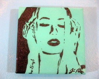 Hand-Cut Original Stencil Painting of Iggy Azalea ~ The New Classic ~ Teal with Black Glitter Spray Paint by Jessica Popes of Popes w/Paint