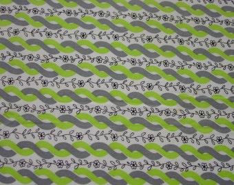 "Nice Vintage Cotton Fabric, Lime, Grey,White & Black 34 x 35"""