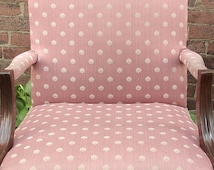 Vintage 1940's Pink Sateen chair, Pink bedroom chair, Antique chair, Shabby chic bedroom furniture, Pink chair, retro Living room chair