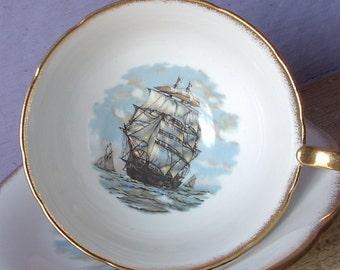 Vintage 1940's Salisbury English teacup and saucer, Sailing ship tea cup, Clipper ship, Nautical gift for dad, Antique Bone china teacup