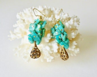 Amazonite Bead Cluster Dangle Earrings Brass Filigree Drops for Pierced ears Blue Green & gold