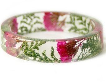 Bracelet - Real Flower Jewelry- Flower Jewelry- Jewelry with Real Flowers- Pink Flowers- Green Bracelet -Resin Jewelry- Pink Bracelet