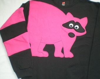 Pink Raccoon Sweatshirt, raccoon tail sweatshirt, adult size sweatshirt, unisex small, medium or large top.