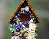 Valentines day Mosaic bird house Whimsical mosaic stones with purples and wine corks
