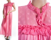 NWOT unworn soft glossy bubblegum pink shiny nylon and self patterned lace and frill detail 1960's vintage full length nightgown - 3301