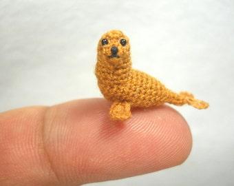 Mini Brown Seal - Miniature Crochet Pinniped Stuffed Animal - Made to Order