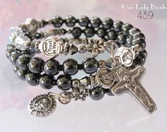 Hematite Rosary Bracelet, Rosary Wrap Bracelet,Religious Gifts,Catholic Jewelry,Catholic Bracelet,Rosaries,#439