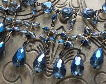 Beautiful something blue teardrop wedding necklace