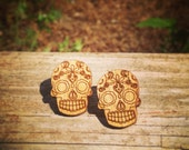Wood Mexican Sugar Skull - Day of the dead - stud earrings
