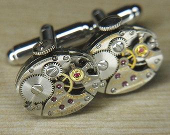 STEAMPUNK Cuff Links Cufflinks - Torch SOLDERED - Vintage Silver WITTNAUER Watch Movements w Crowns - Birthday Anniversary Gift - Fine Shine