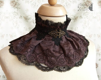 Collar Steampunk, Victorian, brown lace collar, mori, Noctua, Somnia Romantica, size extra small - small see item details for measurements