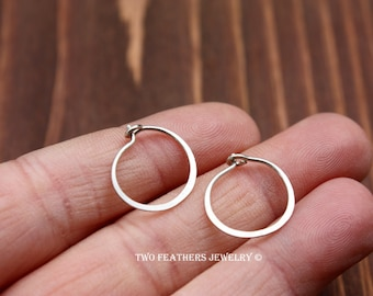 Sterling Silver Hoop Earrings - Silver Hoops - Small Hoop Earrings - Minimalist Jewelry - Modern Silver Jewelry - Two Feathers Jewelry