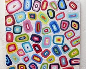 Original Encaustic Painting Geometric original encaustic beeswax painting Licorice abstract art