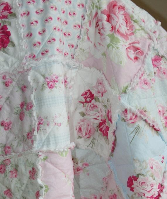 Crib Rag Quilt Baby Girl Crib Bedding Shabby Chic Nursery Pink Blue ...