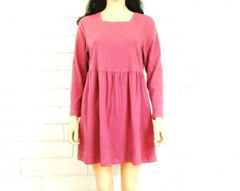 90's LONG SLEEVE DRESS vintage babydoll mini dress minidress knit empire waist dusty rose slouchy grunge S