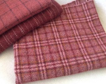 Petunia Plaid, Wool for Rug Hooking and Applique, Select a Size, J906