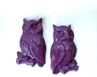 Wall Hanging- PURPLE OWLS- Vintage Painted PAIR Decorations Home Decor Kitchen Decor- 1970s Decor Kitschy- Owl- Colorful- Shabby Chic- Fun-