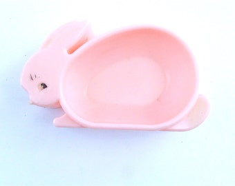 Vintage Bunny Cereal Pink Bowl Plastic Baby Rabbit Ears Happy Meal Time Bunny Way Kids Girl Boy Children Dish Kawaii Tray Easter