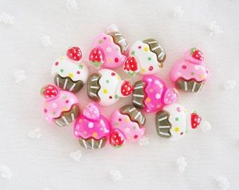 6pcs - Cute Cupcake Mix Decoden Cabochon (19x15mm) CK10012