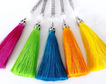 Hand made silk tassel pendant necklaces - 5 colours to choose from