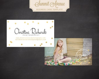 Business Card design template - Gold Confetti by Summit Avenue Gold Foil Business Card Template