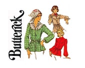 1970s Blouse and Scarf UNCUT Sewing Pattern Size 16 Bust 38 Butterick 4384 Smock Top with round yoke 70s boho chic top