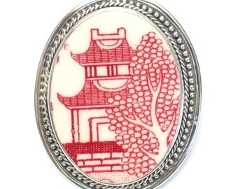 Broken China Jewelry Red Willow Pagoda Sterling Oval Pin Brooch
