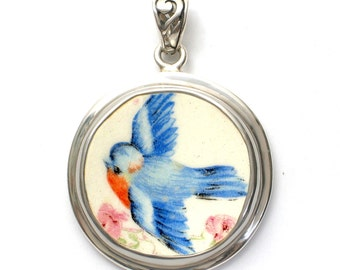 Broken China Jewelry Sweet Vintage Blue Bird Circle Sterling Pendant with Filigre Bale Pendant