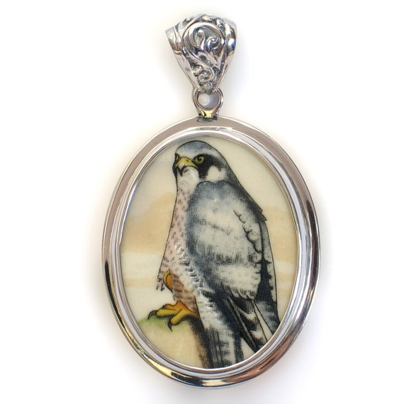 Broken China Jewelry Wedgwood Birds of Prey Peregrine Falcon Sterling Pendant