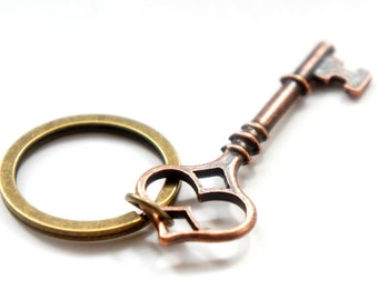 Red For The Chest - Antiqued Brass Red Vintage Style Skeleton Key Key Ring - KR19